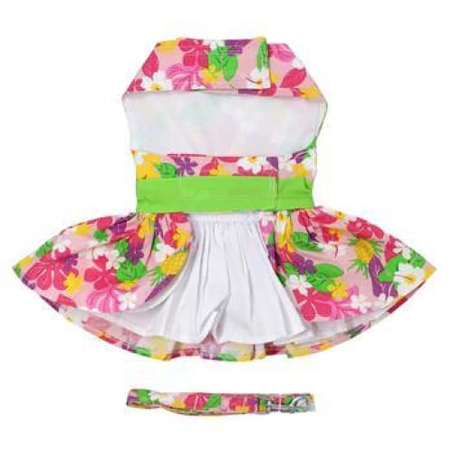 Pink Hawaiian Floral Dog Harness Dress with Matching Leash - Dog Dresses - 5