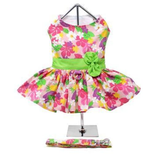 Pink Hawaiian Floral Dog Harness Dress with Matching Leash - Dog Dresses - 3
