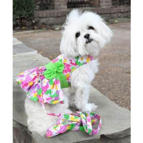 Pink Hawaiian Floral Dog Harness Dress with Matching Leash - Dog Dresses - 1