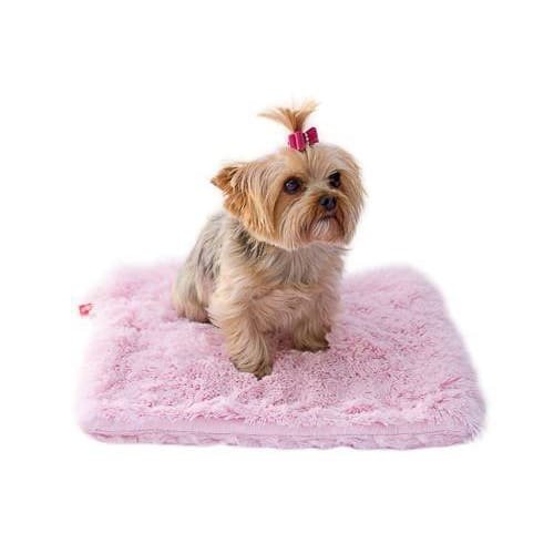 Pink Shag Plush Dog Carrier Liner/Crate Pad - 1