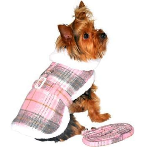 Plaid Fur-Trimmed Dog Harness Coat - Pink and White - Dog Jackets & Coats - 1