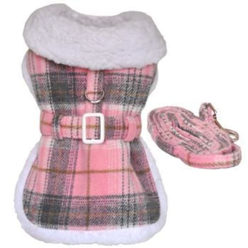 Plaid Fur-Trimmed Dog Harness Coat - Pink and White - Dog Jackets & Coats - 3