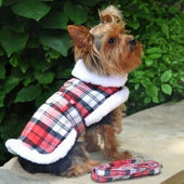 Plaid Fur-Trimmed Dog Harness Coat - Red and White - Dog Jackets & Coats - 1
