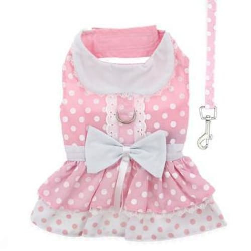 Polka Dot and Lace Dog Dress Set with Leash Pink - Dog Dresses - 2