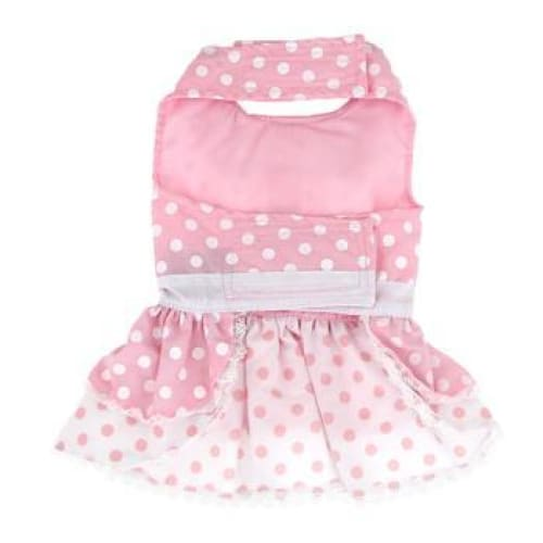 Polka Dot and Lace Dog Dress Set with Leash Pink - Dog Dresses - 3