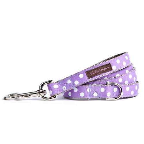 Purple/White Candied Dots Dog Leash - Ribbon Dog Leashes - 1