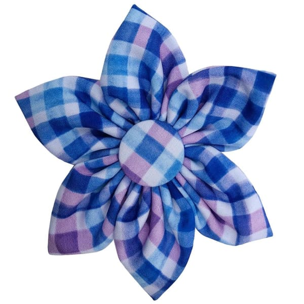 Purple Check Pinwheel for Dogs - Dog Collar Flowers - 1