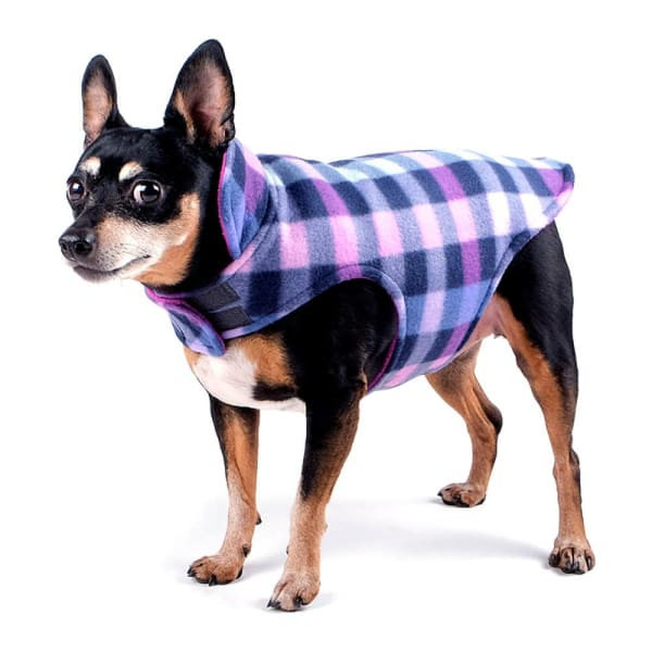Purple Check Fargo Fleece Reversible Jacket for Dogs - Dog Jackets & Coats - 1