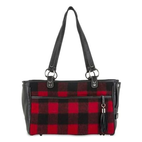Red Buffalo Plaid Tote for Dogs by Petote - Purse Dog Carriers - 1