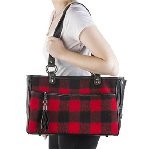 Red Buffalo Plaid Tote for Dogs by Petote - Purse Dog Carriers - 3