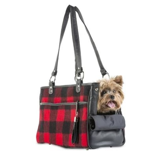 Red Buffalo Plaid Tote for Dogs by Petote - Purse Dog Carriers - 2