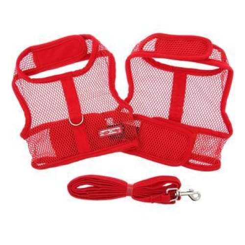 Red Cool Mesh Dog Harness with Matching Leash - Soft Dog Harnesses - 2