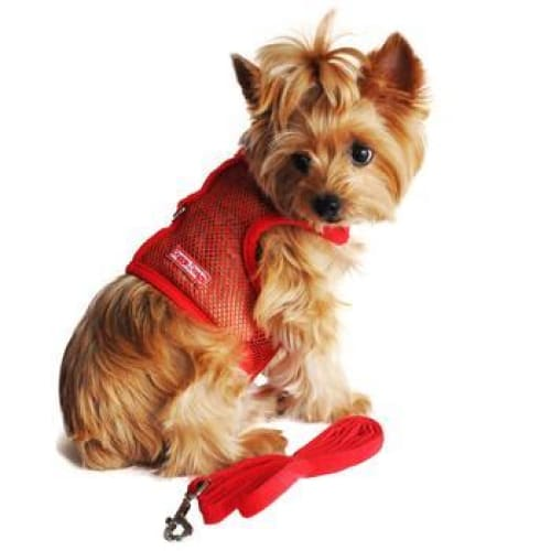 Red Cool Mesh Dog Harness with Matching Leash - Soft Dog Harnesses - 1