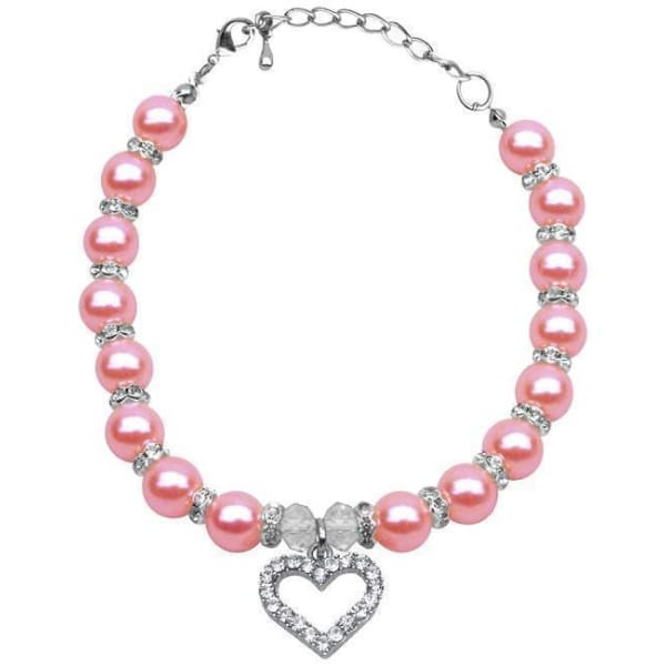 Rose Pink Pearl Dog Necklace - 1