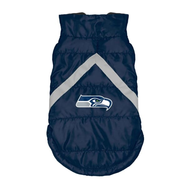 Seattle Seahawks Pet Puffer Vest for Dogs - NFL Pet Puffer Vest for Dogs - 1
