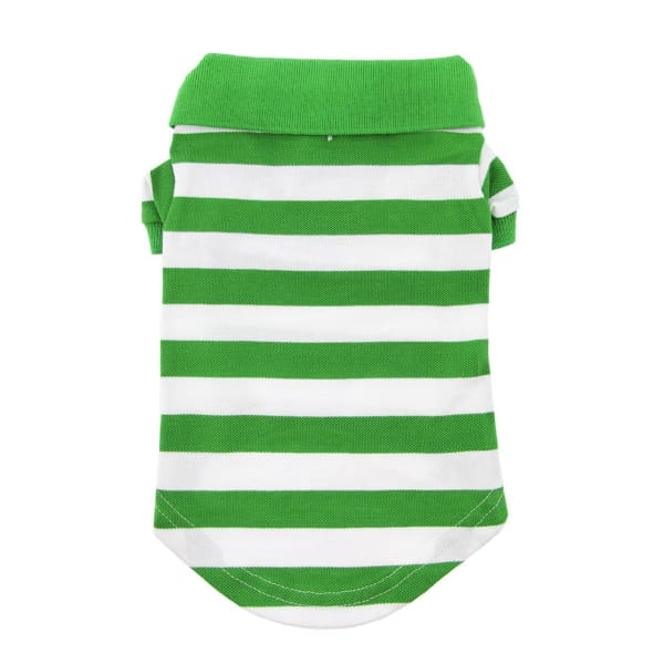 Striped Dog Polo - Greenery and White - Dog Tee Shirts - 3