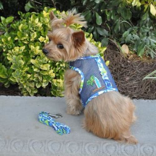 Surfboard Blue and Green Cool Mesh Dog Harness with Matching Leash - Soft Dog Harnesses - 1
