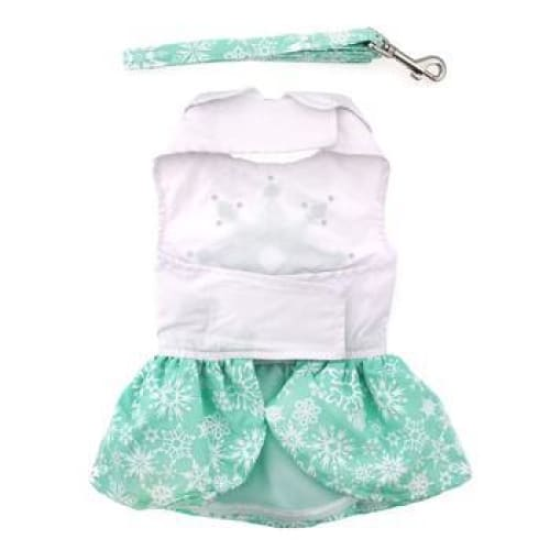 Turquoise Crystal Dog Dress with Matching Leash - Dog Dresses - 3