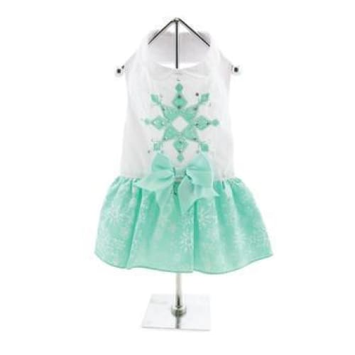 Turquoise Crystal Dog Dress with Matching Leash - Dog Dresses - 2