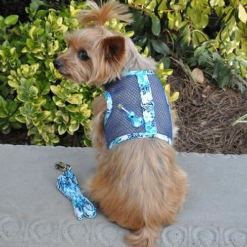 Ukulele Blue Hibiscus Cool Mesh Dog Harness with Matching Leash - Soft Dog Harnesses - 1