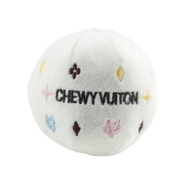 White Chewy Vuiton Ball Plush Dog Toy - Plush Dog Toys - 1