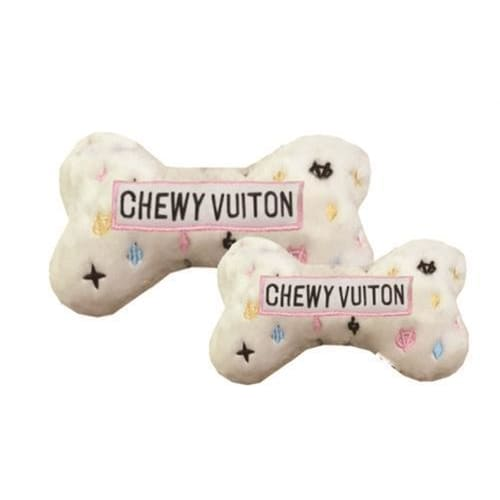 White Chewy Vuiton Bone Dog Toy - 1