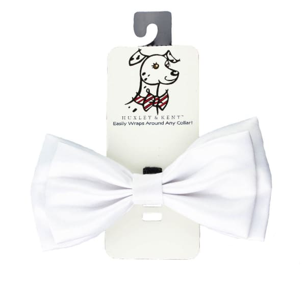 White Satin Bow Tie for Dogs - Dog Bow Ties - 1