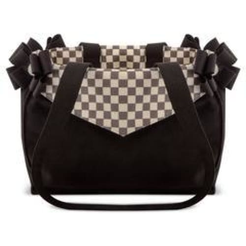 Windsor Check Double Nouveau Bow Luxury Carrier by Susan Lanci - Dog Purse Carriers - 1