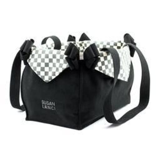 Windsor Check Double Nouveau Bow Luxury Carrier by Susan Lanci - Dog Purse Carriers - 5