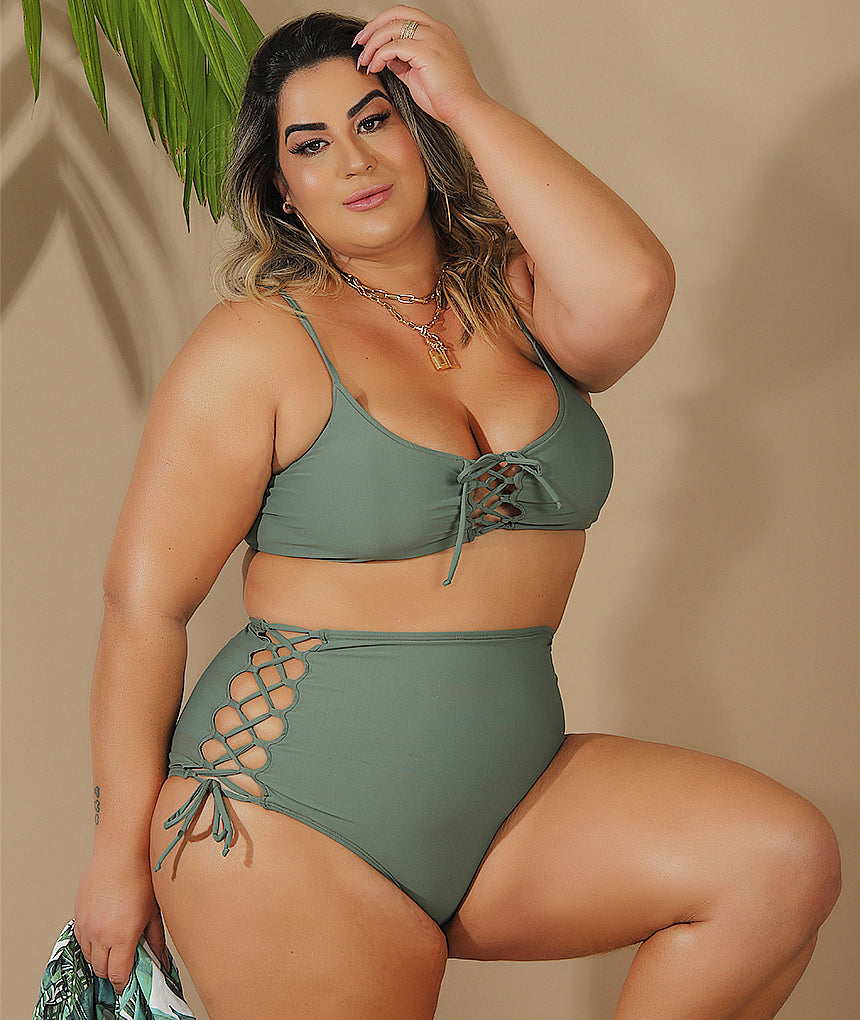 Top Trançado Rebeka Plus Size Verde