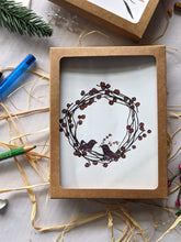 Load image into Gallery viewer, birds building a berry wreath holiday card