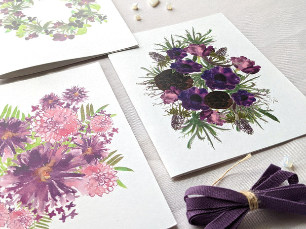 purple flowers and pods greeting card 1