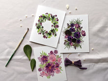 Load image into Gallery viewer, pansies floral wreath greeting card