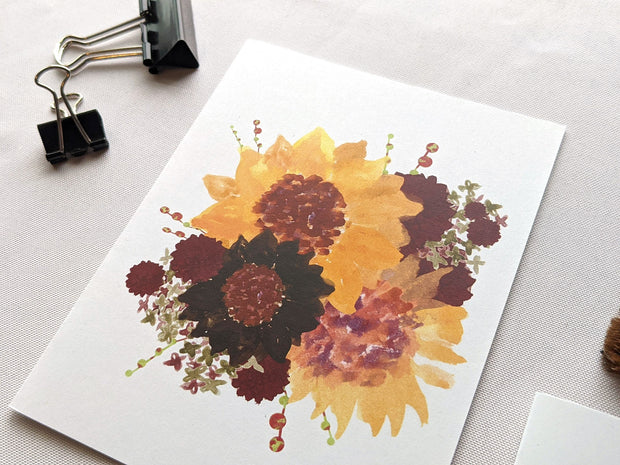 sunflowers floral bouquet greeting card 1