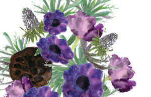 purple flowers and pods greeting card