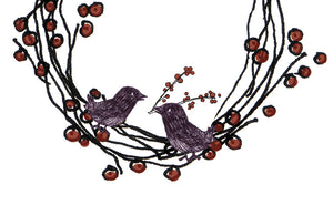birds building a berry wreath holiday card