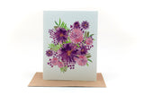 purple flowers and pink flowers greeting card