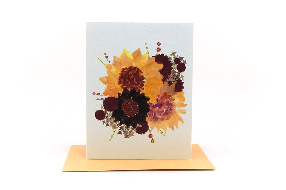 sunflowers floral bouquet greeting card