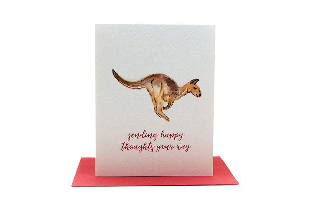 kangaroo sending happy thoughts greeting card