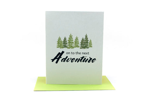 on to the next adventure greeting card