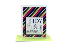 Load image into Gallery viewer, peace joy cheer merry holiday card