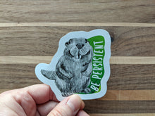 Load image into Gallery viewer, animal stickers | be persistent beaver
