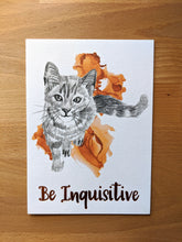 Load image into Gallery viewer, animal art print | be inquisitive cat