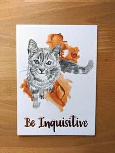 animal art print | be inquisitive cat
