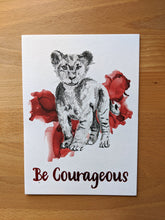 Load image into Gallery viewer, animal art print | be courageous lion
