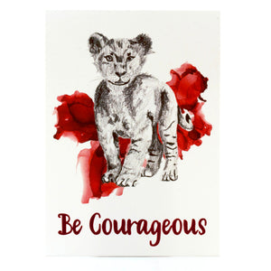 animal art print | be courageous lion