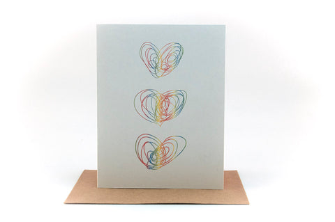 heart trio doodle greeting card