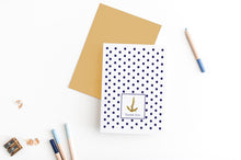 Load image into Gallery viewer, nautical dot and anchor greeting card