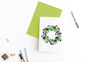 pansies floral wreath greeting card