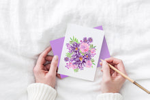 Load image into Gallery viewer, purple flowers and pink flowers greeting card